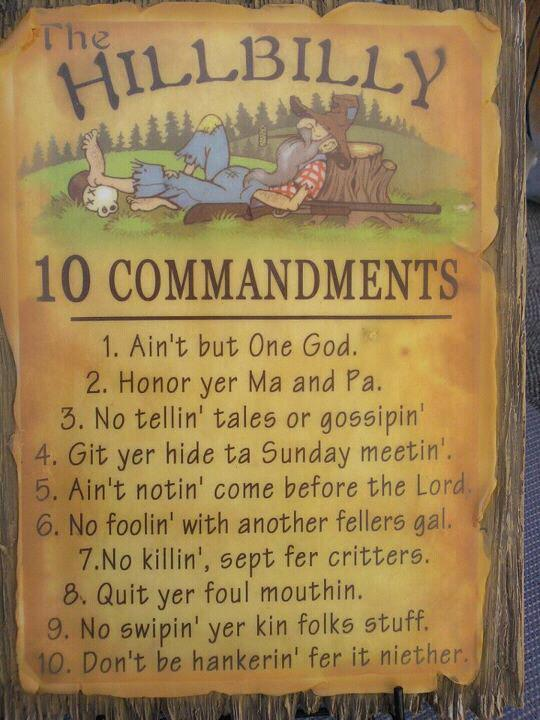 Hillbilly Ten Commandments