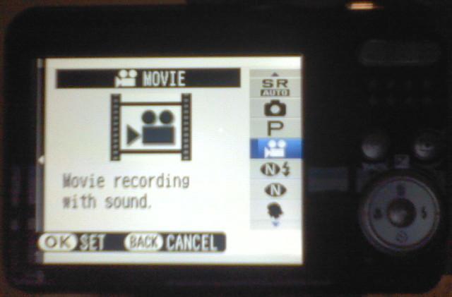 Fujifilm FinePix AX650 select video mode