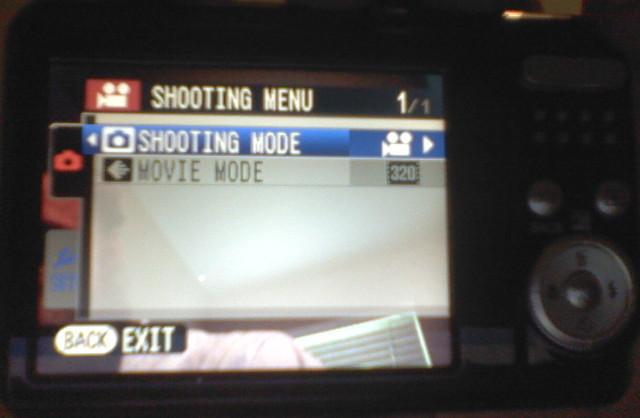 Fujifilm FinePix AX650 video shooting menu